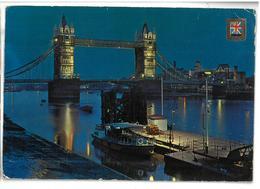 Inghilterra England London Tower Bridge And River Thames By Night Viaggiata 1977 Condizioni Come Da Scansione - River Thames