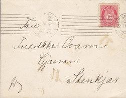Norway Tms. Cds. TRONDHJEM 'Petite' 1906 Cover Brief STENKJÆR 10 Øre Posthorn Single Franking - Norwegen