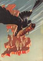 """D9276 """"AQUILA IN VOLO CON FASCIO VITTORIO,TIMBRO ARMA AREONAUTICA"""" ANIMATA , CART  SPED  23 LUGLIO 1940 - Guerra 1939-45"""