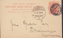 Great Britain Postal Stationery Ganzsache PRIVATE Print HESSLER & Co., WEST HARTLEPOOL 1896 DRAMMEN (Arr.) Norway - Norwegen