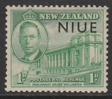 Niue 1946 Victorious End Of Second World War - New Zealand Postage Stamps Overprinted 1 P Green SW 71 * MM - Niue