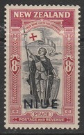 Niue 1946 Victorious End Of Second World War - New Zealand Postage Stamps Overprinted 8 P Carmine/black SW 74 * MM - Niue