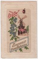 GREECE GRECE  Carte Brodée Souvenir From Salonica SALONIQUE Moulin Muhl Modena Monastir Salonique Cendres Dans Le Texte - Greece