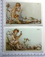 2 CHROMOS    LITHOGRAPHIES  CARTONNÉES....PETITS ANGES...CARQUOIS...MANDOLINE - Vieux Papiers