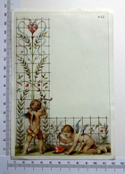 CHROMO    LITHOGRAPHIE  CARTONNÉE...PETITS ANGES QUI ATTRAPENT  UN CŒUR....ARC ...FLECHES - Vieux Papiers