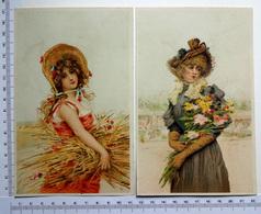 2 CHROMOS    LITHOGRAPHIES  GRAND FORMAT  H  17 Cm... FEMMES AVEC CHAPEAU ET BOUQUET DE FLEURS - Vieux Papiers