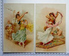 2 CHROMOS    LITHOGRAPHIES  GRAND FORMAT  H  17 Cm...DANSEUSE ESPAGNOLE ET DANSEUSE ORIENTALE - Vieux Papiers