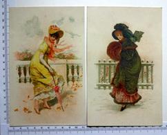 2 CHROMOS    LITHOGRAPHIES  GRAND FORMAT  H  17 Cm...FEMMES QUI AFFRONTENT LE VENT OU LA NEIGE...OMBRELLE  ...MANCHON - Vieux Papiers