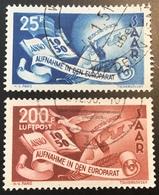 "Sarre 1950 Mi. 297-298 ""EUROPARAT"" OBLIT DE COMPLAISANCE (Yv 277 + PA  13 Saar Saarland Saargebiet Europa-union - 1947-56 Occupation Alliée"