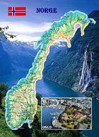 Norway Country Map New Postcard Norwegen Landkarte AK - Norway