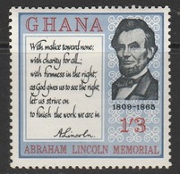 Ghana 1965 The 100th Anniversary Of The Death Of Abraham Lincoln, 1809-1865 1'3 SH. P. Multicoloured SW 215 * MM - Ghana (1957-...)