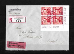 HEIMAT ZÜRICH → Einschreibe-Express-Brief (Ausst.100 Jahre Schw.Briefmarken)  ►SBK-J103 Im Viererblock◄ - Pro Juventute