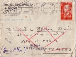 PARIS 82 - N°880 SEUL/LETTRE - SUPERBE VIGNETTE DE NICE AU VERSO - A Mlle LA PATISSIERE FORAINE - 25 ANS - BRUNE - 1M53 - 1921-1960: Modern Period