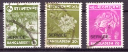 Bangladesh 1976 - Obliterè - Arbres - Fleurs - Félins - Timbres De Service Michel Nr. 12 14-15 (ban026) - Bangladesh