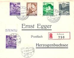 """R Brief  Schaan - """"Egger, Herzogenbuchsee""""           1942 - Liechtenstein"""