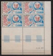 Bénin - 1977 - Poste Aérienne PA N°Yv. 282 - Laika - Bloc De 4 Coin Daté - Neuf Luxe ** / MNH / Postfrisch - Benin - Dahomey (1960-...)
