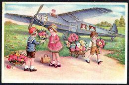 ENFANT - CP -  6 Enfants, Des Fleurs Et Un Avion - Circulé - Circulated - Gelaufen -1941. - Autres