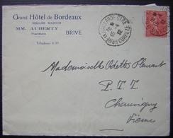 Brive 1932 Grand Hôtel  De Bordeaux Square Majour MM Auberty Propriétaire - Marcofilie (Brieven)
