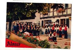 Carte Groupe Folklore Musique Alsace Cachet Saint Louis Sur Venus + Pompier Blotzheim - Alsace
