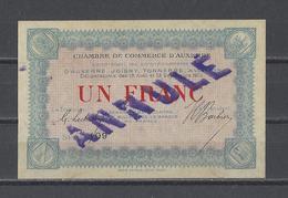 Chambre De Commerce D'AUXERRE   Billet De 1.00F  ANNULE - Chamber Of Commerce