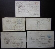 Paris, Lot De 5 Lettres Des Années 1830, Dont Cachets Bleus Et Un Port Payé Rouge, Voir Photos - Postmark Collection (Covers)