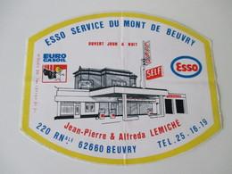 Autocollant Vintage Esso Service Beuvry 15 Cm / 12 Cm - Stickers