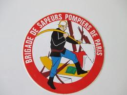 Autocollant Vintage Sapeurs Pompiers De Paris 9 Cm De Diamètre - Stickers