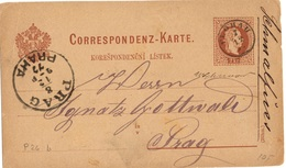 AUTRICHE Mi P26b OBLITERE PETIT CERCLE(FINGERHUT STEMPEL) DE FLöHAU POUR PRAGUE - 1850-1918 Empire