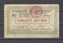 Bon Nécessité  Commune De CORNIMONT  Bon De 50c - Bonos