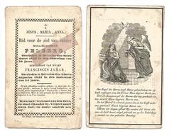 D 782. ANNA- ELISABETH PELSERS - + BEVERLOO 1851( 58 Jaren) Echtg. Van F. JAMAR +BEVERLOO 1843 (54jaren) - Andachtsbilder