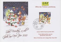 Luxembourg Christmas Card 2009 - Christmas Tree - Fox - Rabbit - Star - Snow - Postwaardestukken