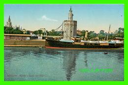 SEVILLA, ESPAGNE - MUELLE Y TORRE DEL ORO - ANIAMTED WITH A SHIP - C. R. S. - - Madrid