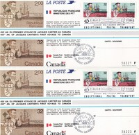 Ensemble Commémoratif Du 450e Anniversaire Du Premier Voyage De Jacques Cartier Au Canada (VOIR LES SCANS) - Blocs Souvenir