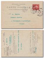 FRANCE - Semeuse 10c YT 135 Perforé PL Sur Carte Postale Panhard & Levassor De Paris Av D'Italie 07/12/1907 - Postmark Collection (Covers)