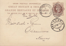 Great Britain Postal Stationery Ganzsache PRIVATE Print J. H. HANCOCK, NEWCASTLE-ON-TYNE 1881 Drammen CHRISTIANIA (Arr.) - Norwegen