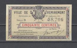 Bon Nécessité Ville De REMIREMONT  Bon De 50c - Bons & Nécessité