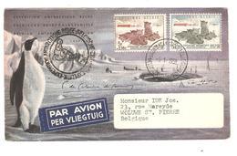 PR6533/ TP 1030/1031 Chiens Surtaxe S/L.Avion Expédition Antarctique Belge C.5/1/1958 V.Woluwé St.Pierre C.d'arrivée BXL - Expéditions Antarctiques
