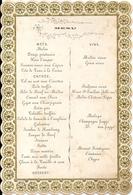 Beau Menu Bords Gaufrés Annoté Au Dos Mariage Bert Van Reynschoote 3 Août 1867 - Menus