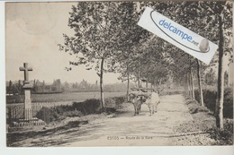 ESCOS : Route De La Gare,Attelage De Boeufs,Croix. édit Vve Bachebat. - France
