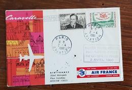 FRANCE Première Liaison Aérienne PARIS - VARSOVIE - MOSCOU Par Caravelle 2 Avril 1960 - Posta Aerea