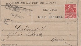 BRIONNE-EURE : Avis D'arrivée D'un Colis-postal D'Angers (Service Des Colis-Postaux.) Peu Courant. - Postmark Collection (Covers)