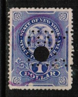 U.S.A.  Scott # UNLISTED 1908 VF USED NEW YORK STATE $1.00 STOCK TRANSFER (Stamp Scan # 510) - Revenues