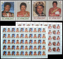 St.Vincent 1985 MICHAEL JACKSON 2$/$5 Se-tenant COMPLETE SHEETS:2(2x50 Stamps) - St.Vincent (1979-...)