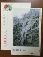 Rime Trees,mountain Frozen Ice Waterfall,China 2000 Henan Tongbai Landscape Advertising Pre-stamped Card - Holidays & Tourism