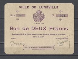 Bon Nécessité Ville De LUNEVILLE  Bon De 2.00F - Bons & Nécessité