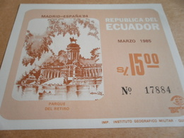 Miniature Sheet Joint Issue Madrid Quito Retirement Park 1985 - Ecuador