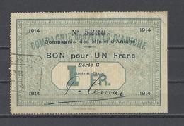 Bon Nécessité Compagnie Des Mines D'ANICHE  Bon De 1.00F - Bons & Nécessité