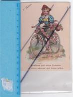 Chromos Découpis Gaufré ; 1er Avril - Fillette à Vélo Avec Un Panier De Fleurs.Devinez Qui Vous L'envoie... - Autres