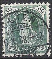 Schweiz Suisse 1907: 14 Zähne+Faser 14 Dents, Melée Zu 98A Mi 92D Yv 110 - 50c Grün, Voll-o OLTEN 26.X.08 (Zu CHF 20.00) - Oblitérés