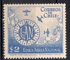 Chile  1949 - Airmail - The 20th Anniversary Of National Airline - Chile